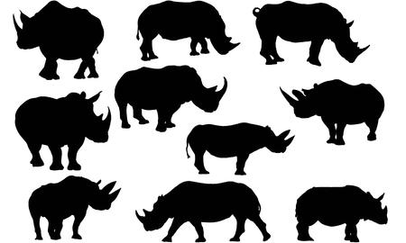 Rhinoceros silhouette illustration Иллюстрация