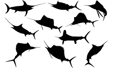 Sail fish silhouette illustration Иллюстрация