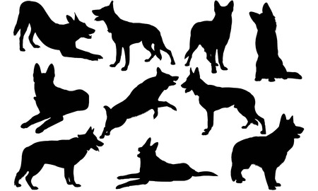 German Shepherd Dog silhouette illustration