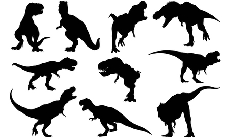 Tyrannosaurus silhouet illustratie Stock Illustratie