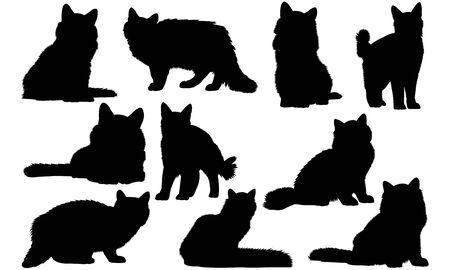 Siberian Cat silhouette illustration Иллюстрация