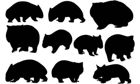 Wombat silhouet illustratie Stock Illustratie
