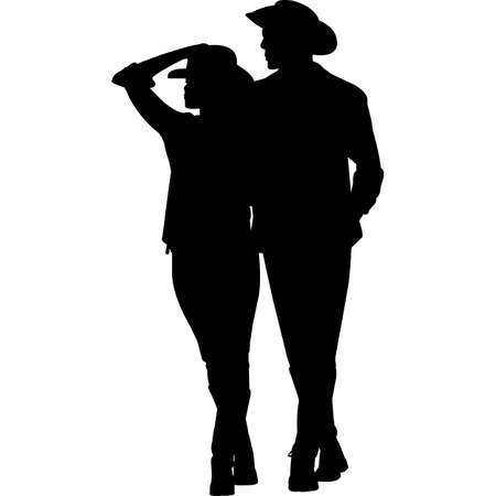 Cowboy and Cowgirl Couple Silhouette Vector