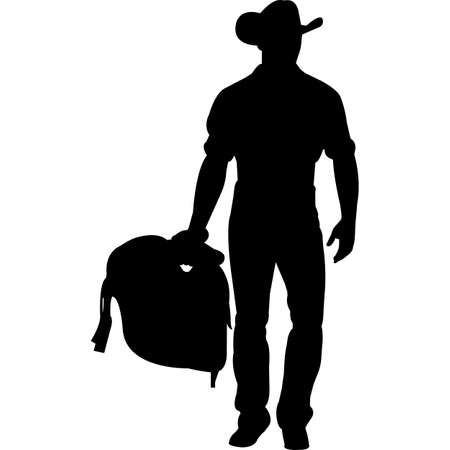 Cowboy with Saddle Silhouette Vector