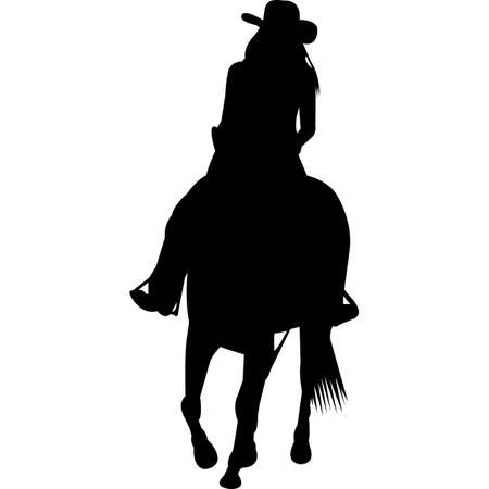 Cowgirl on horse Silhouette Vector