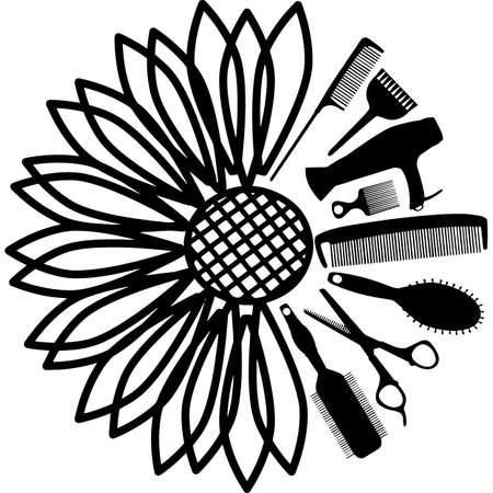 Sunflower Hairdresser Hair Stylist Tools Silhouette Vector Vector Illustratie