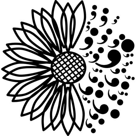 Sunflower Suicide Prevention Silhouette Vector