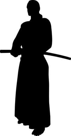 Aikido 9 isolated vector silhouette Vektorové ilustrace