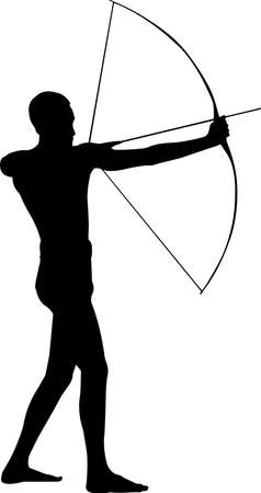Archery Man 2 isolated vector silhouette Vector Illustration