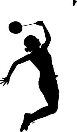 Badminton - Women 10 isolated vector silhouette