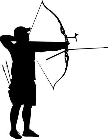 Archery Man 4 isolated vector silhouette Ilustración de vector