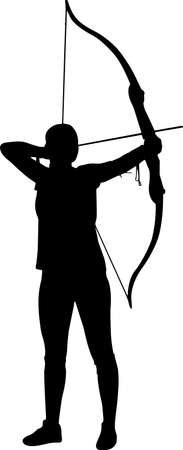 Archery Women 4 isolated vector silhouette