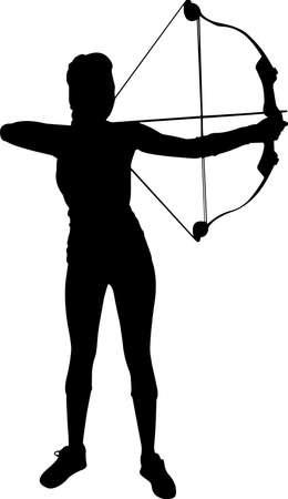 Archery Women 1 isolated vector silhouette Vetores