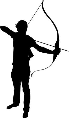 Archery Man 9 isolated vector silhouette Vetores