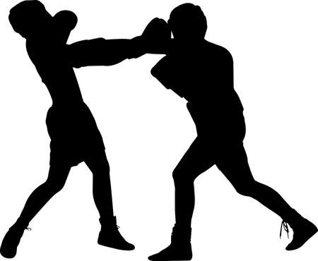 Boxing Men 8 isolated vector silhouette