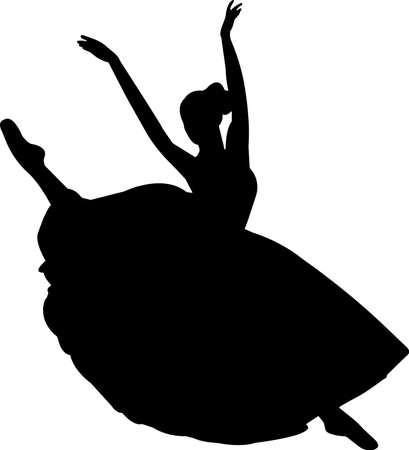 Ballet 1 isolated vector silhouette 矢量图像