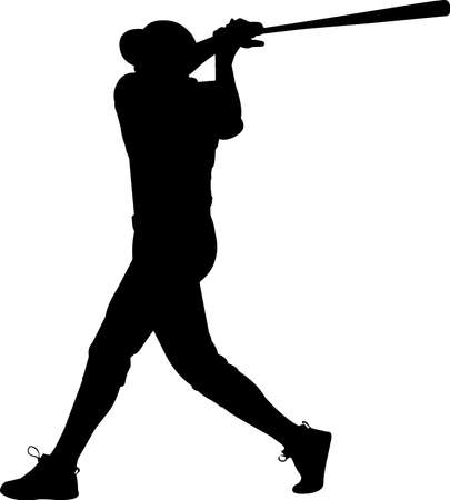Baseball 2 isolated vector silhouette