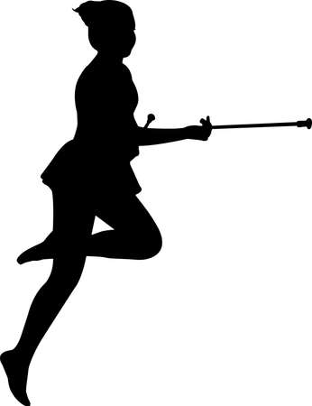 Baton Twirling 8 isolated vector silhouette