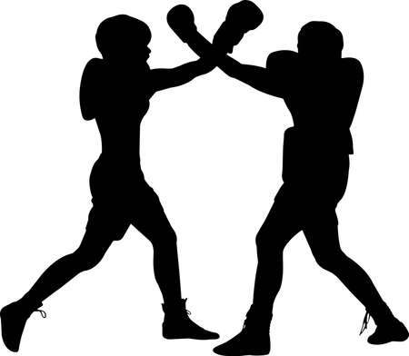 Boxing Men 7 isolated vector silhouette 矢量图像