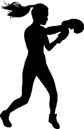 Boxing Women 10 isolated vector silhouette 矢量图像