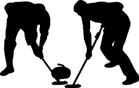 Curling 3 isolated vector silhouette