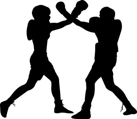 Boxing Men 10 isolated vector silhouette 矢量图像
