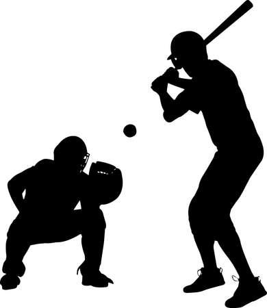 Baseball 9 isolated vector silhouette 矢量图像