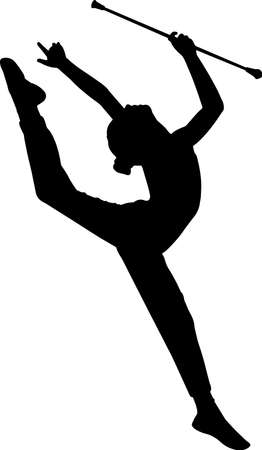 Baton Twirling 10 isolated vector silhouette