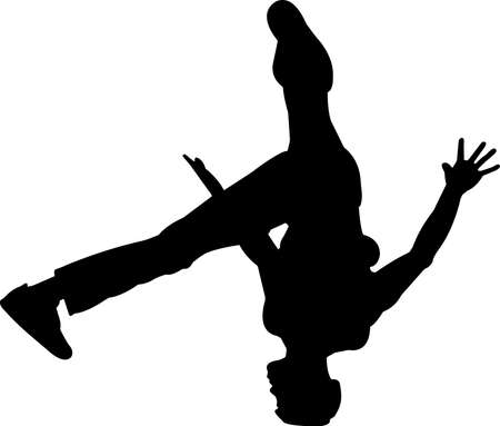 Break Dancing 1 isolated vector silhouette
