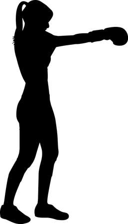Boxing Women 7 isolated vector silhouette