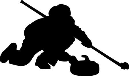 Curling 9 isolated vector silhouette