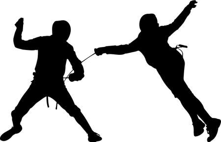 Fencing 5 isolated vector silhouette