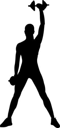 Fitness with Weights 4 isolated vector silhouette