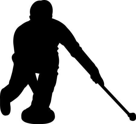 Curling 2 isolated vector silhouette Vetores
