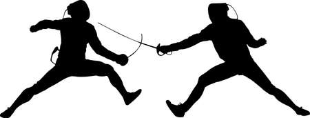 Fencing 10 isolated vector silhouette