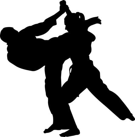 Karate 3 isolated vector silhouette