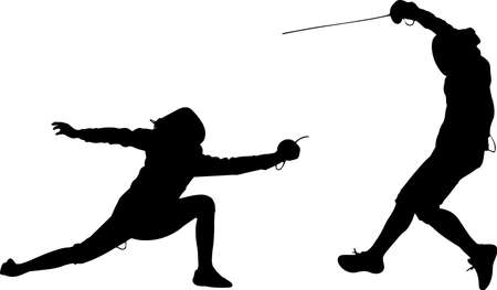 Fencing 1 isolated vector silhouette Vettoriali