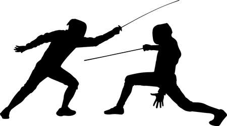 Fencing 2 isolated vector silhouette