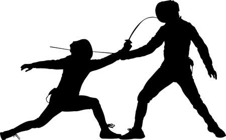 Fencing 9 isolated vector silhouette