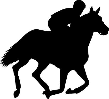 Horse Racing 9 isolated vector silhouette