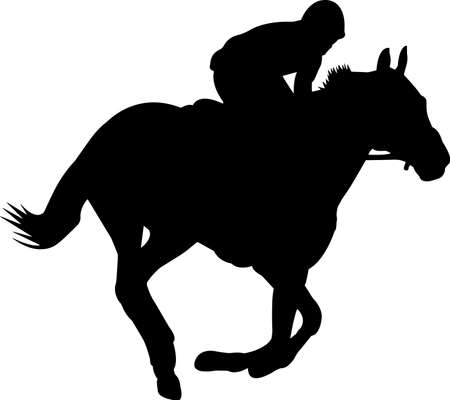 Horse Racing 3 isolated vector silhouette  イラスト・ベクター素材