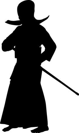 Kendo 9 isolated vector silhouette