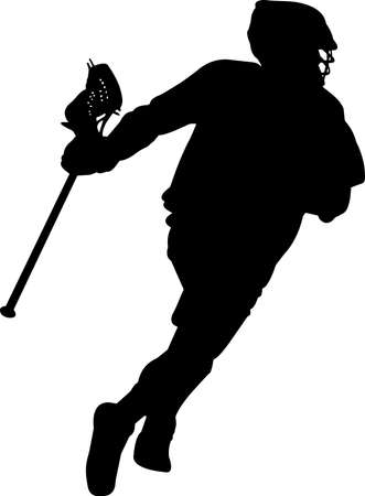 Lacrosse - Men 1 isolated vector silhouette