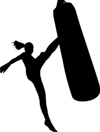 Kickboxing 10 isolated vector silhouette