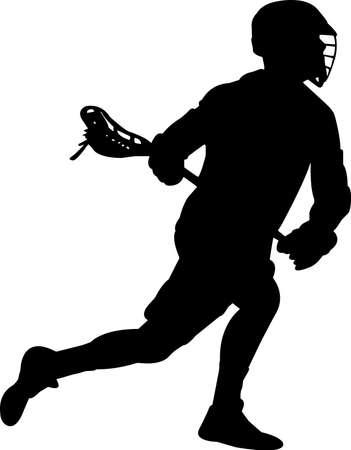 Lacrosse - Men 3 isolated vector silhouette Illusztráció