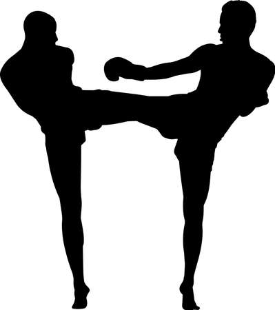 Muay Thai 4 isolated vector silhouette