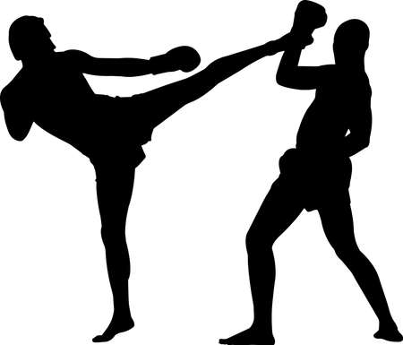 Muay Thai 1 isolated vector silhouette 矢量图像