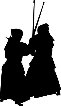 Kendo 1 isolated vector silhouette