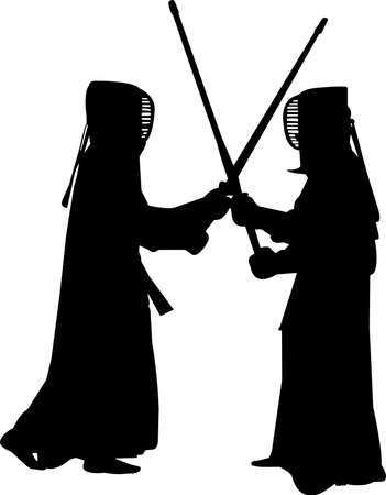 Kendo 7 isolated vector silhouette