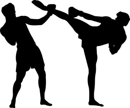 Kickboxing 4 isolated vector silhouette